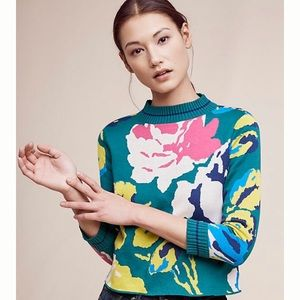 Anthropologie Laine Floral Pullover Sweater Small